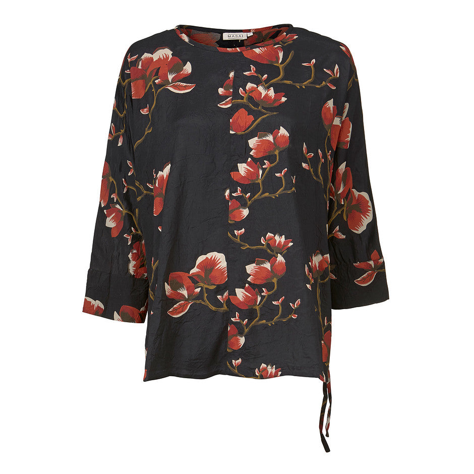 Banu Floral Print Top for Women in Black