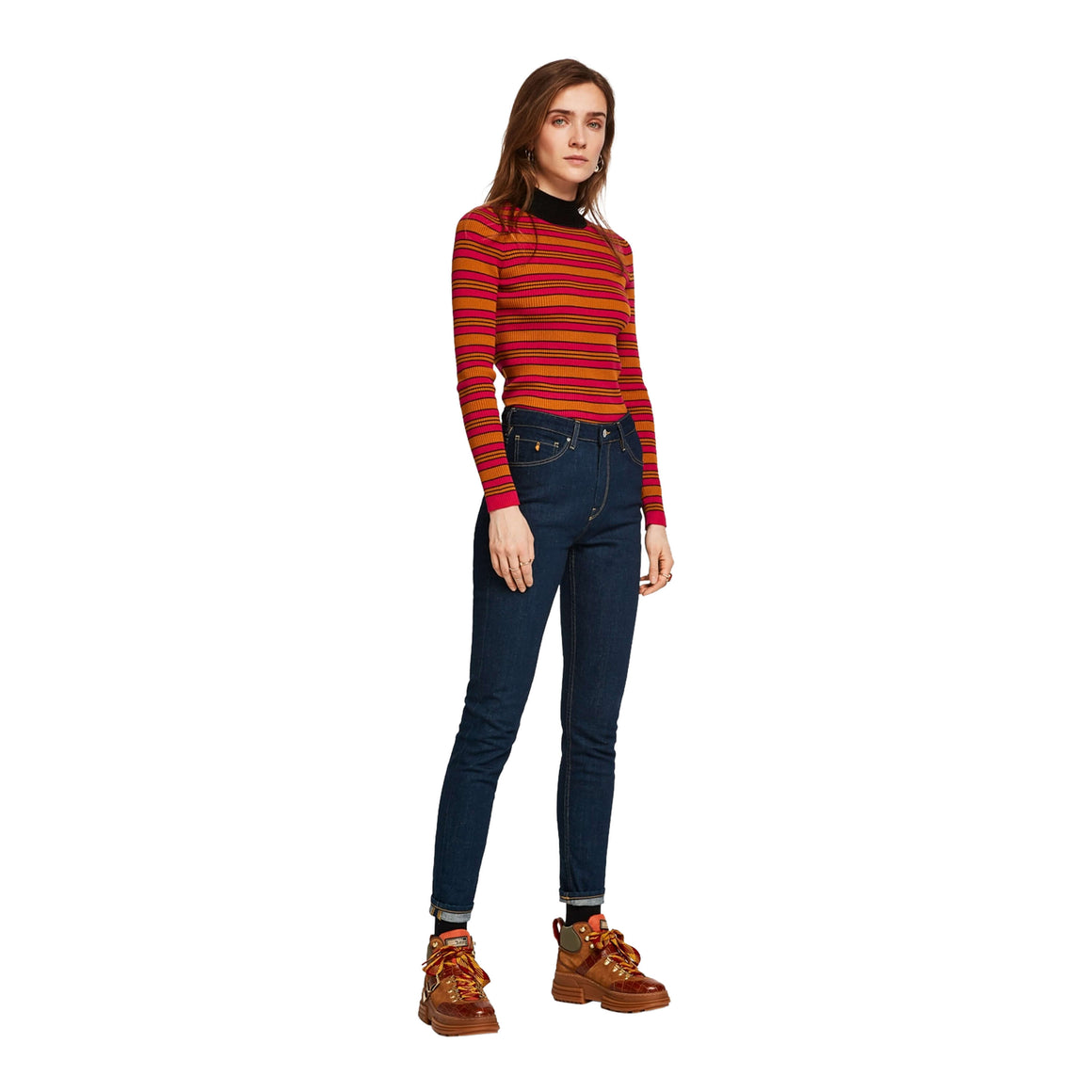 Rib Knit Pullover for Women in Orange and Pink