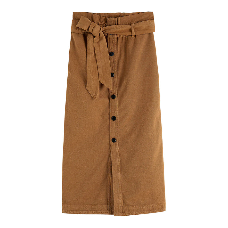 Button Front Skirt for Women in Tan