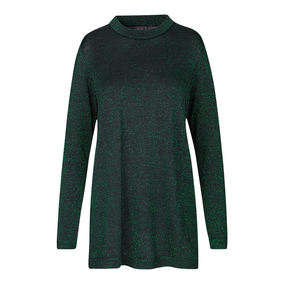 Maddie Lurex Long Top for Women in Metallic Green