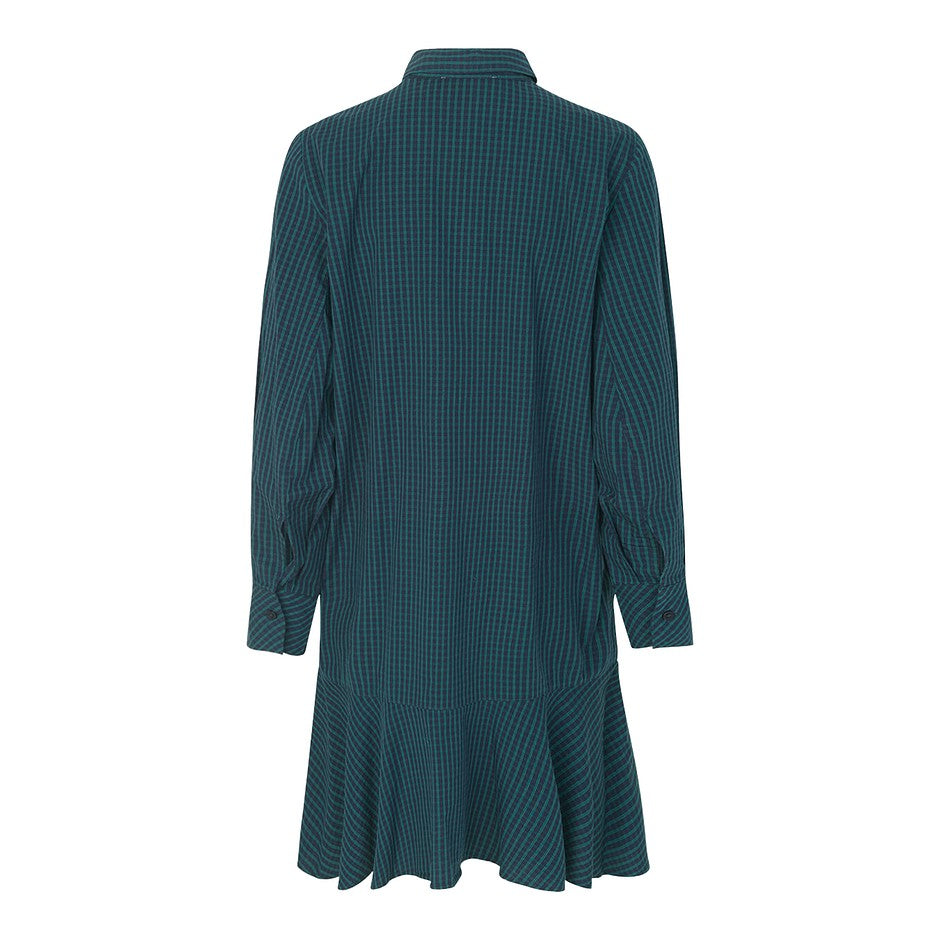 Laura Check Shirt Dress for Women in Green