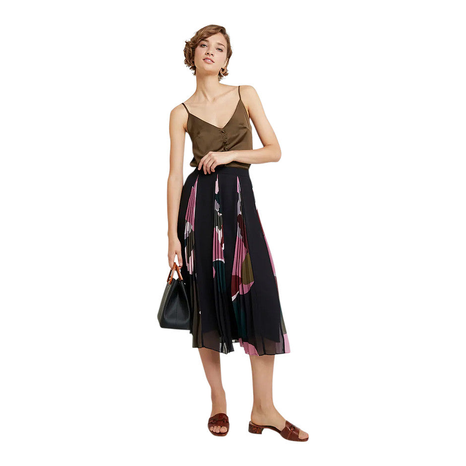 Meeya A-line Skirt with Patterned Pleats for Women in Black