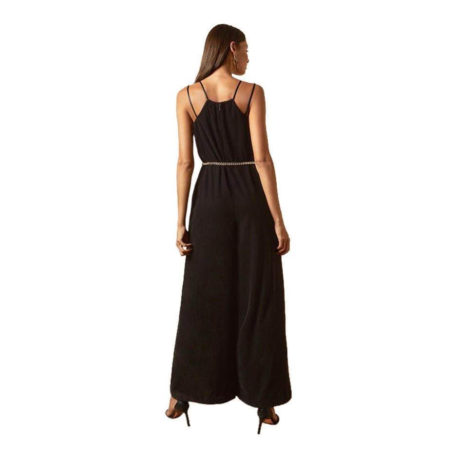 Nellieh Velvet Jumpsuit for Women in Black