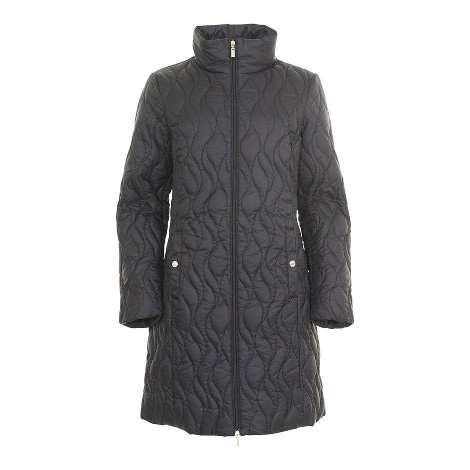 Ascythia Long Quilt Jacket for Women in Black