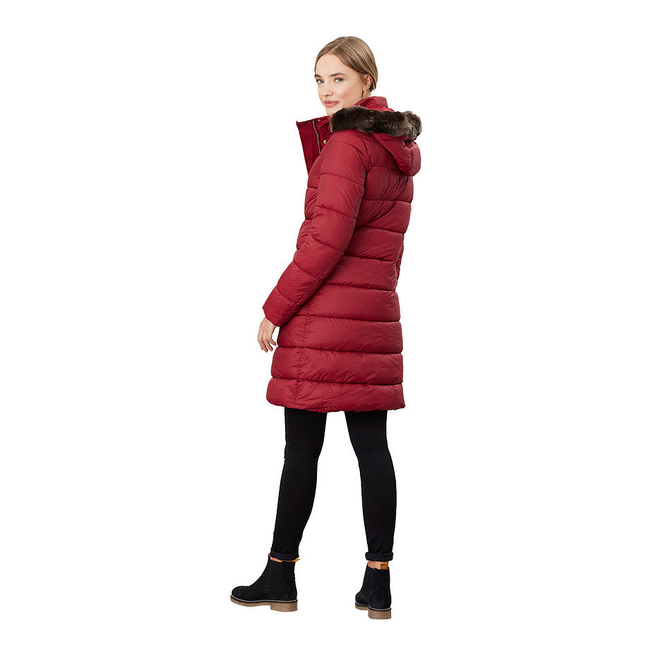 Hartwell Longline Padded Coat with Detachable Hood for Women in Red Wine