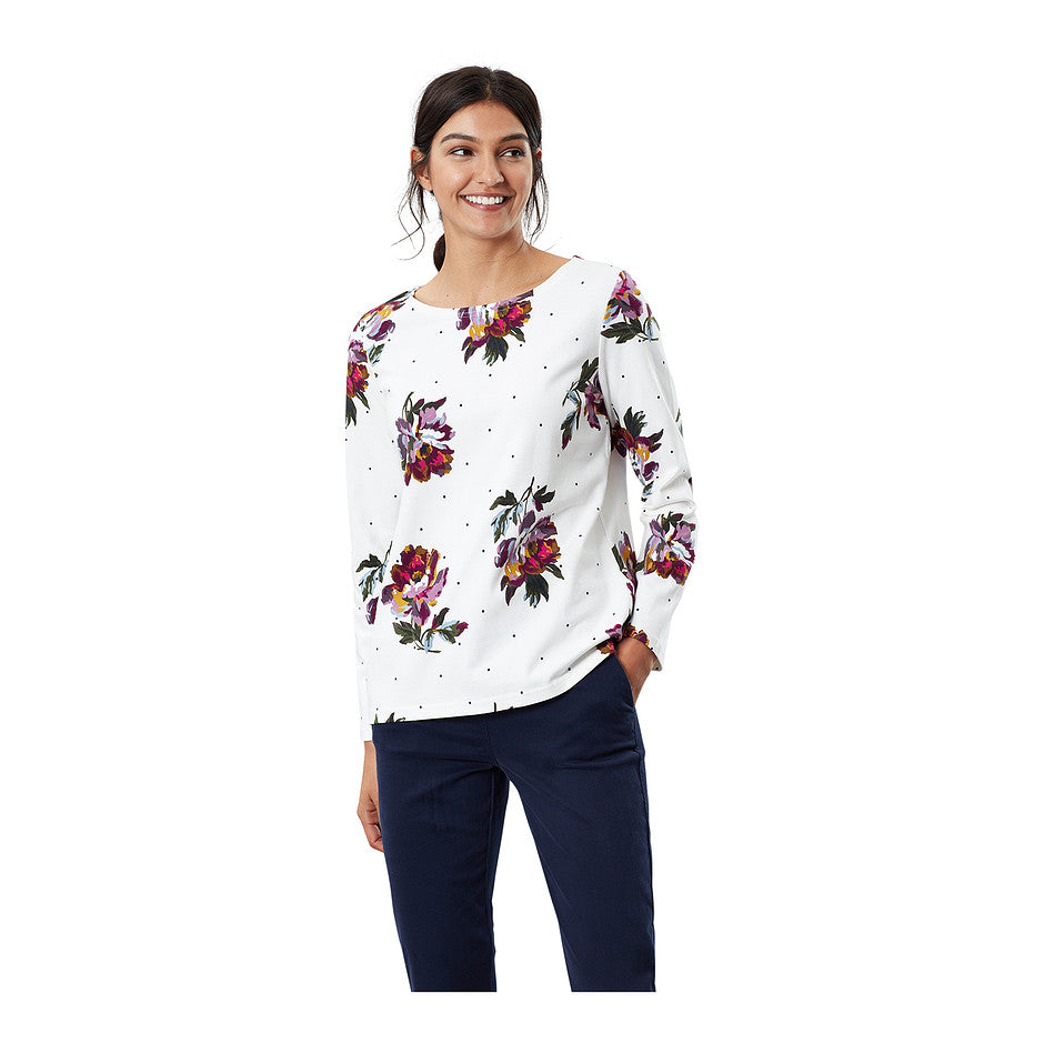 Harbour Print Jersey Top for Women in Cream Peony Spot