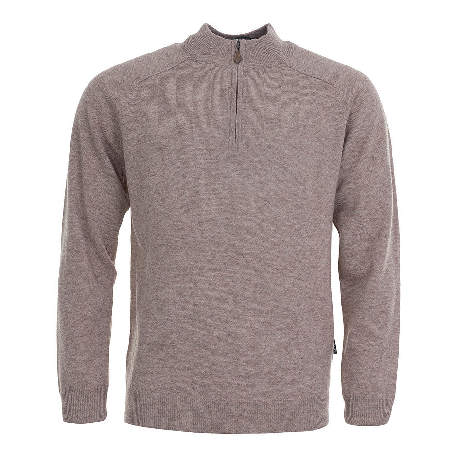 Lambswool 1/4 Zip Jumper for Men in Stone