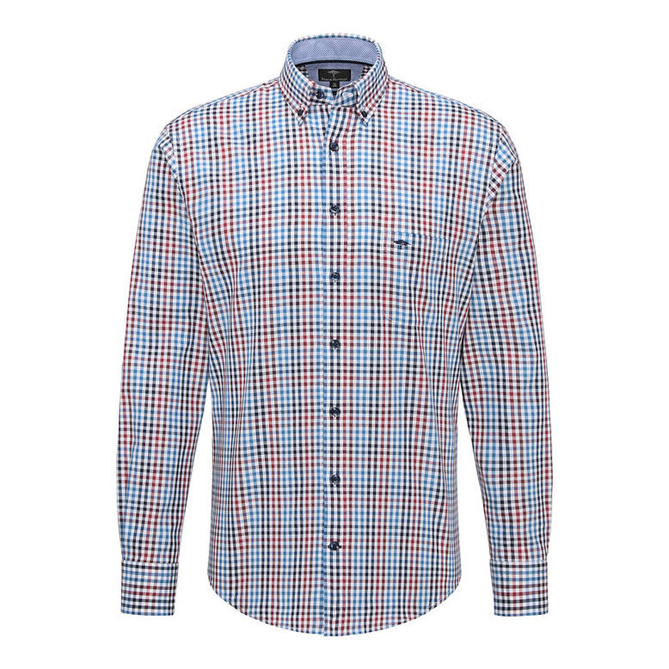 Multi-Coloured Combi Check Shirt for Men in Deep Red