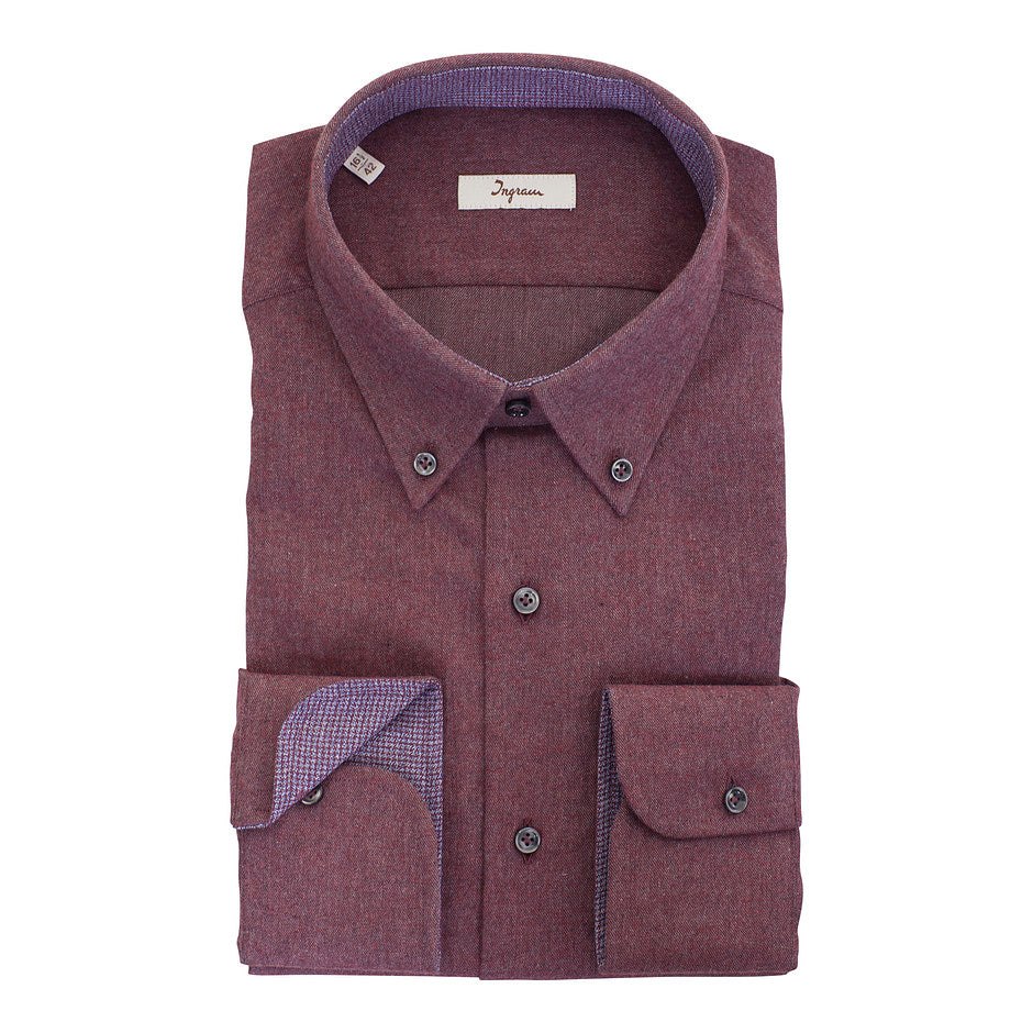 Luxury Italian Brushed Shirt for Men in Mulberry