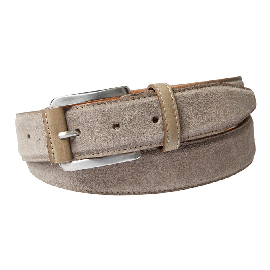 Suede Belt for Men in Stone