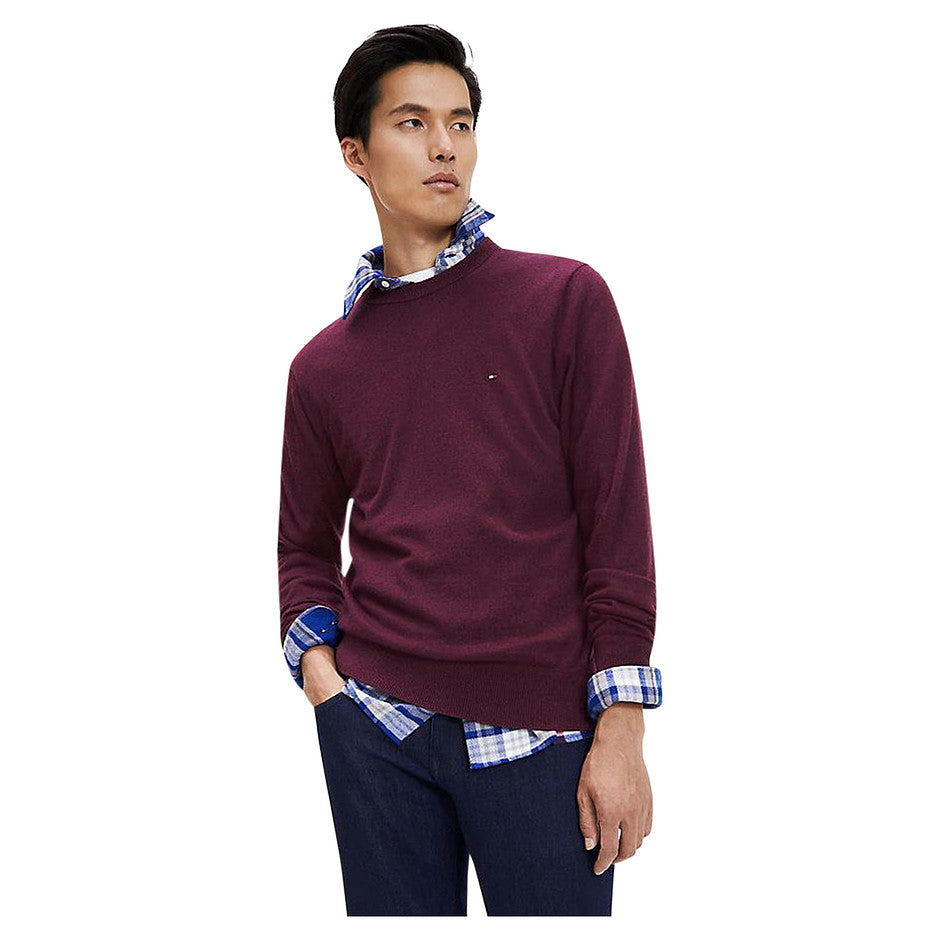 Cotton Cashmere Crew Neck Jumper for Men in Tawny Port Heather