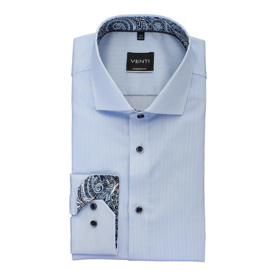 Pin-Stripe Shirt with Trim for Men in Sky Blue