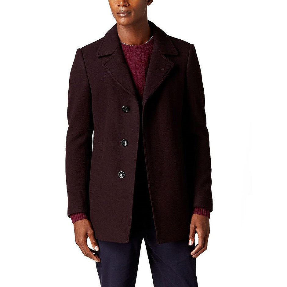Lohmann Wool Coat for Men in Burgundy