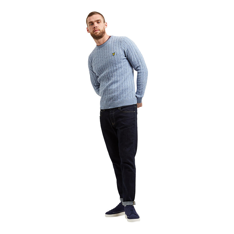 Cable Knit Jumper for Men in Sky