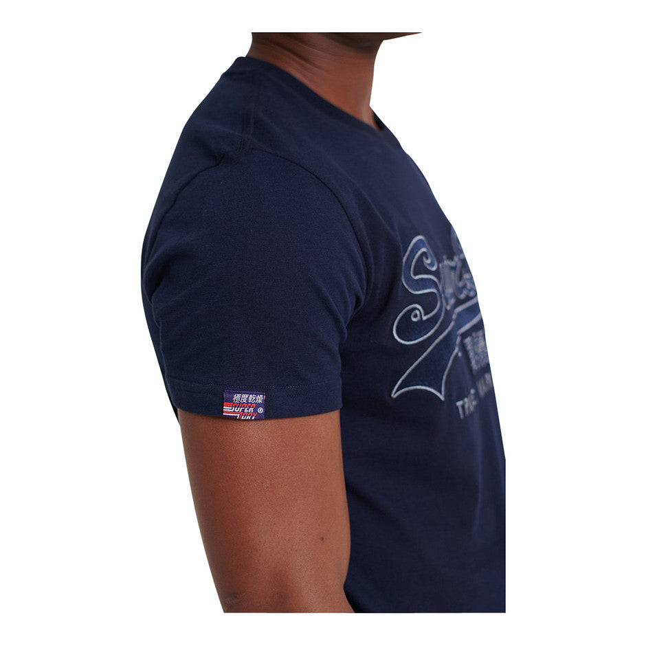 Downhill Race Applique T-Shirt for Men in Rich Navy