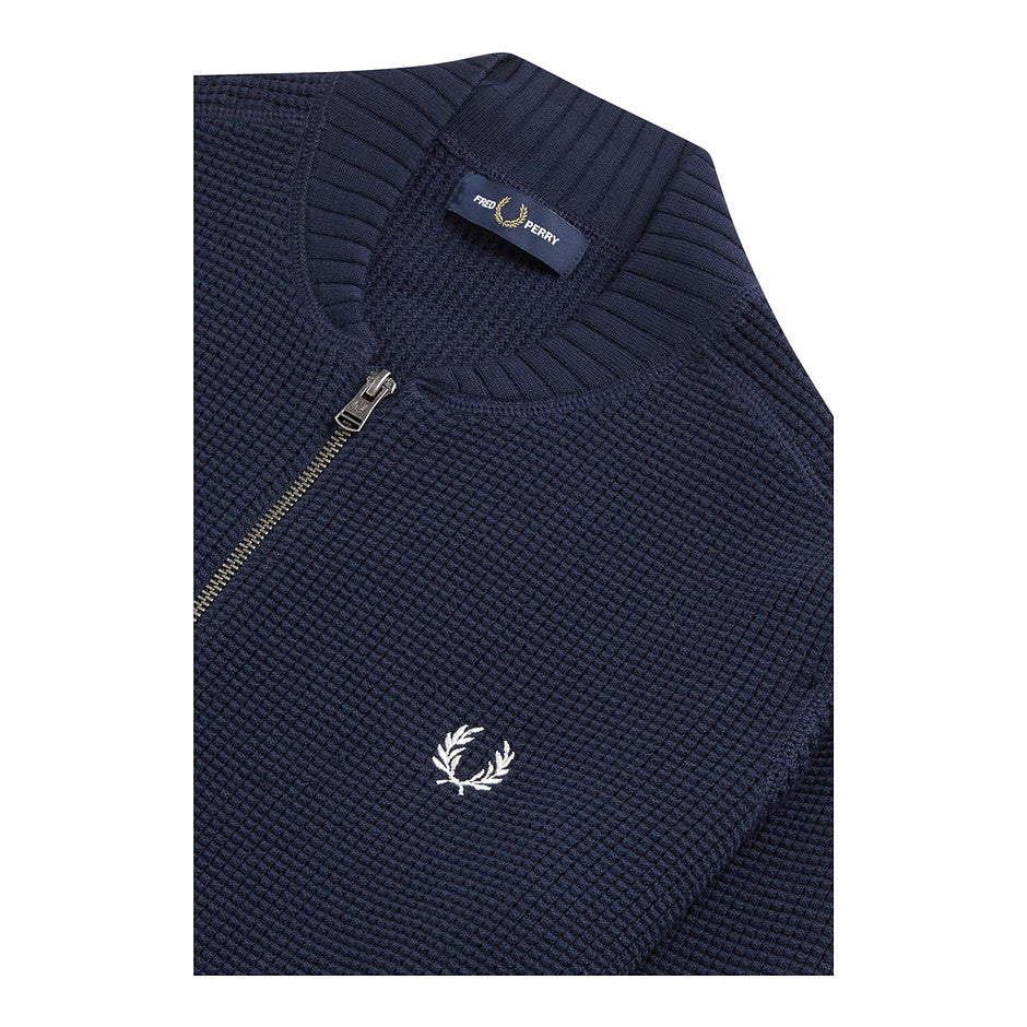 Texture Zip Through Knit for Men in Navy