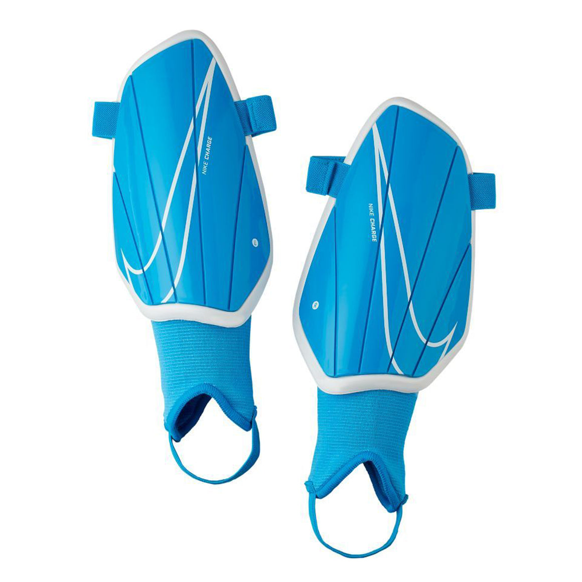 Charge Football Shinguards in Blue & White