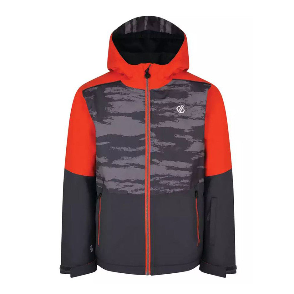 Aviate Waterproof Insulated Quilted Jacket for Kids in Aluminium Grey Camo Print Fiery Red