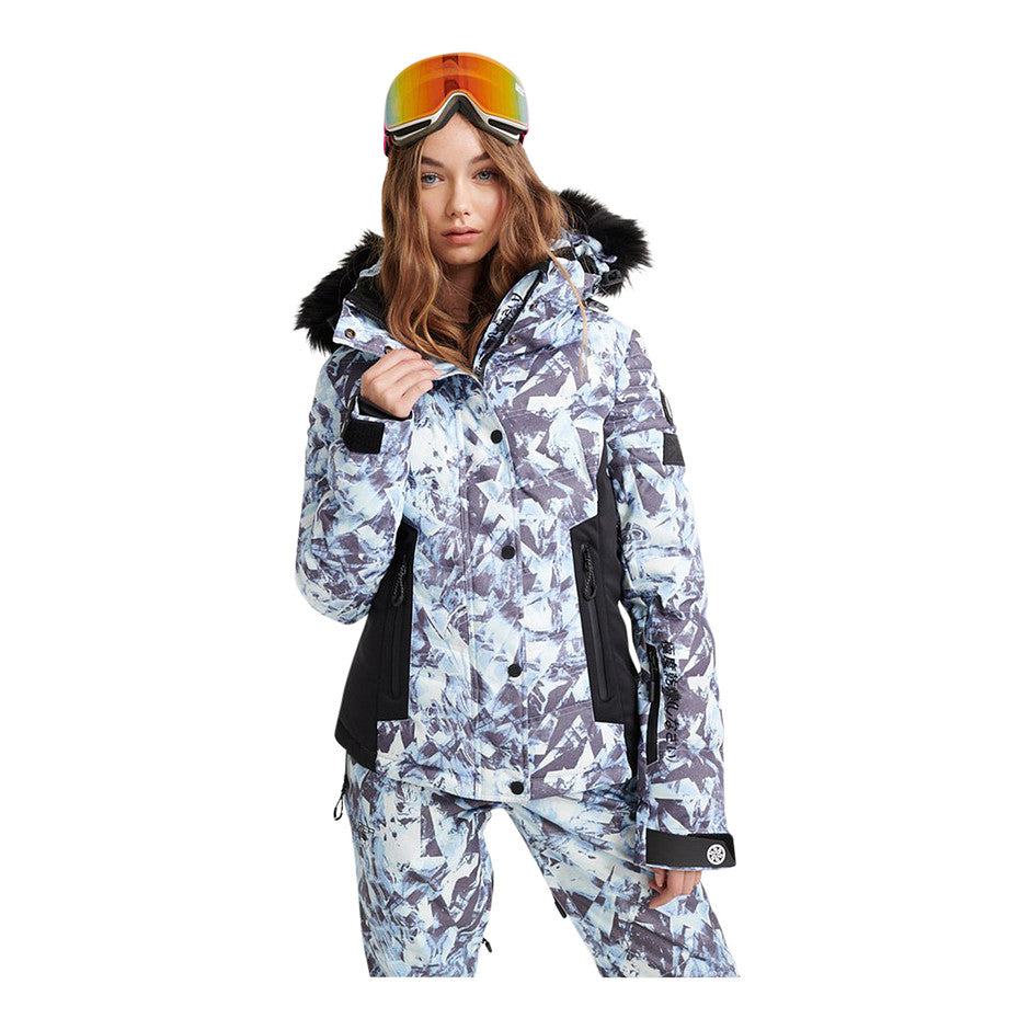 Luxe Snow Puffer Jacket for Women in Frosted Blue Ice