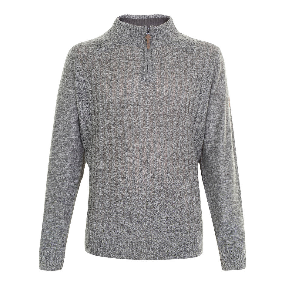 1/4 Zip Cable Knit Jumper for Men in Charcoal