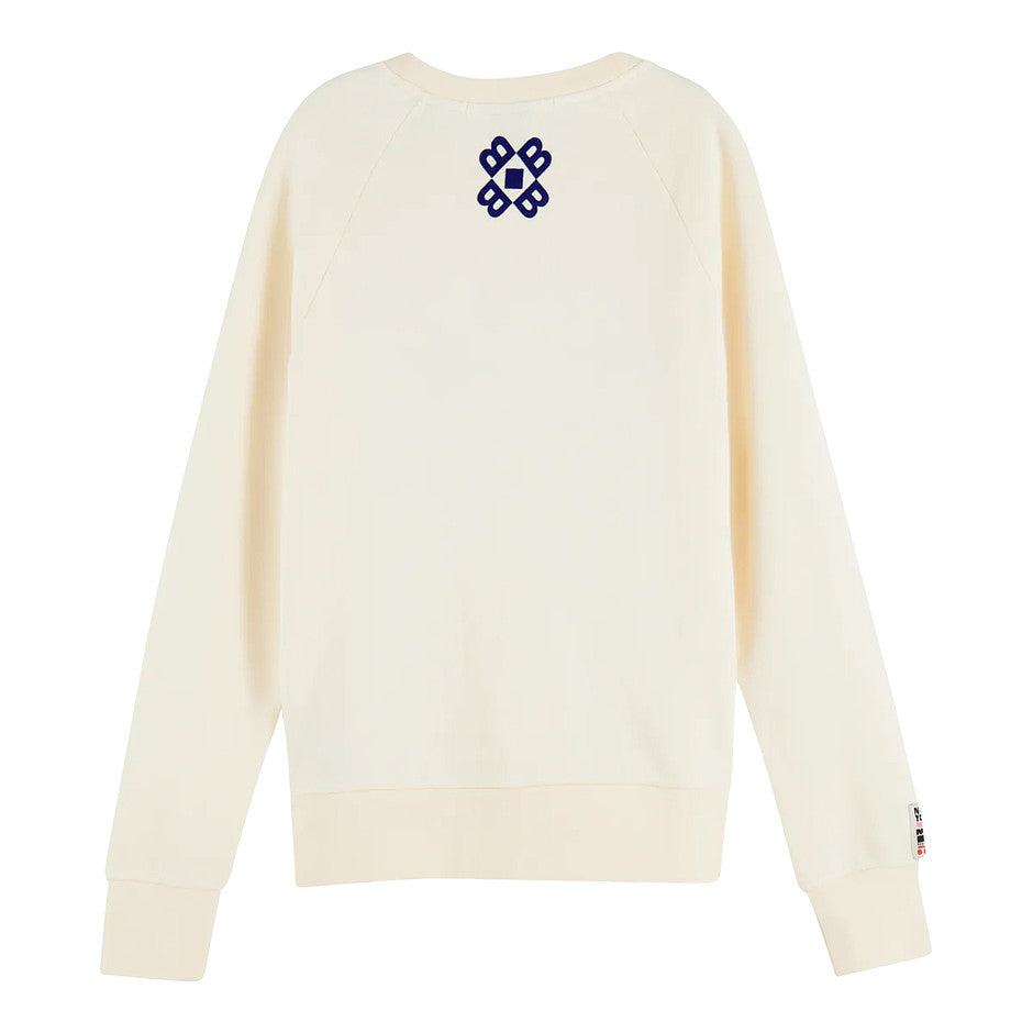 Crew Neck Artwork Sweater for Women in Off White
