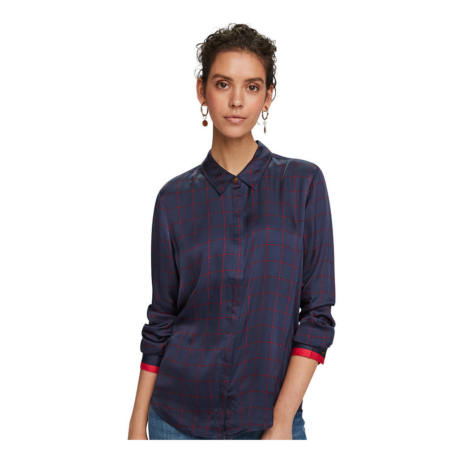 Printed Viscose Satin Shirt for Women in Combo A