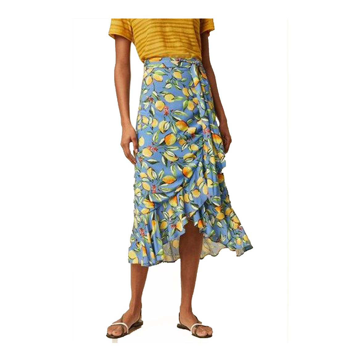 Sorrento Lemon Print Skirt for Women in Blue