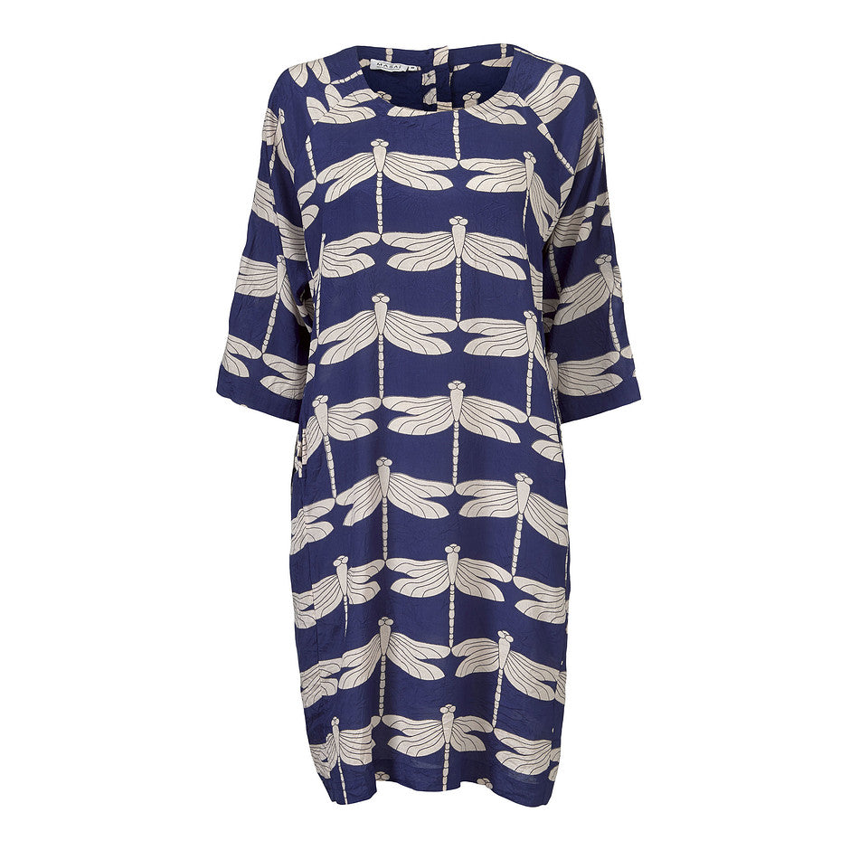 Nara Dragonfly Dress for Women in Navy