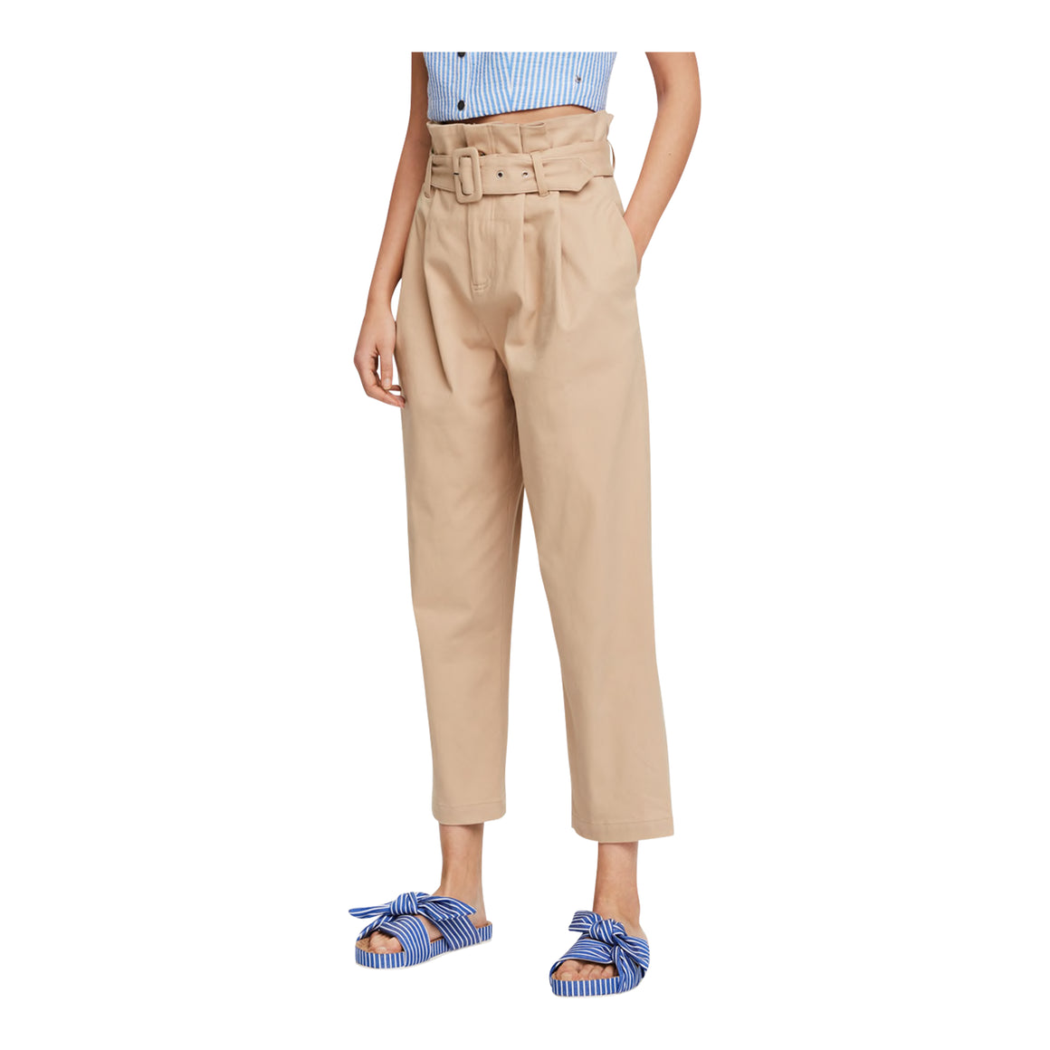 Paperbag Trousers for Women in Sand