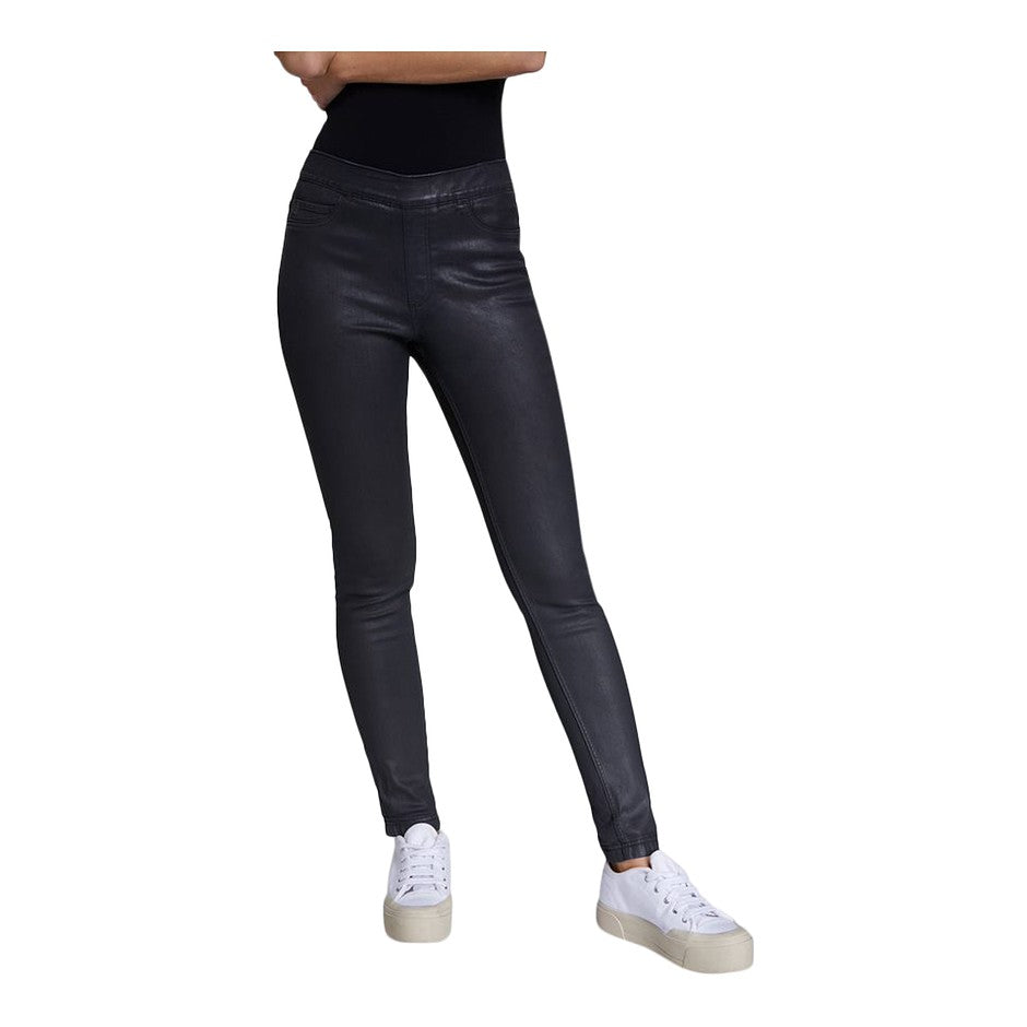 Coated Pull On Jeans for Women in Black