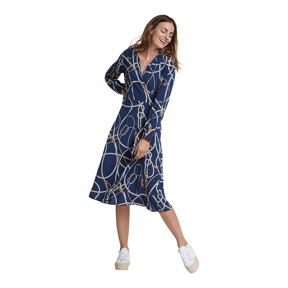 Chain Print Dress for Women in Blue