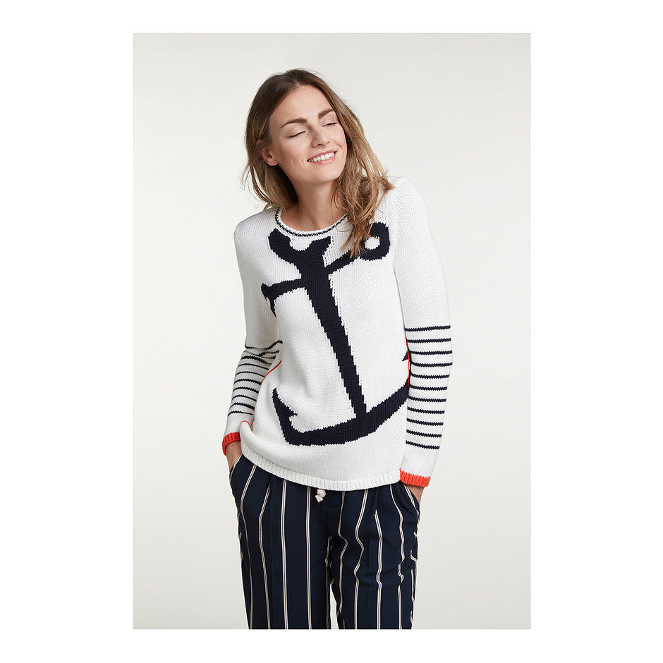 Anchor Knit for Women in Navy & White