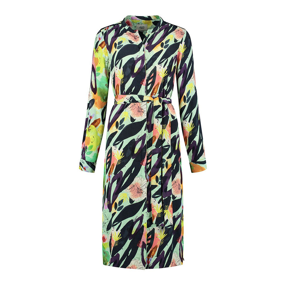 Button Front Dress for Women in Flower Play Mint