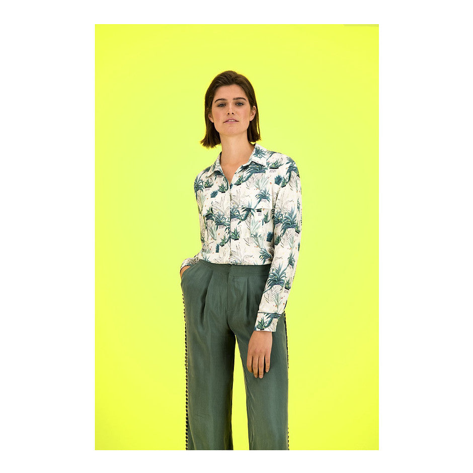 Palm Print Shirt for Women in Multi 1