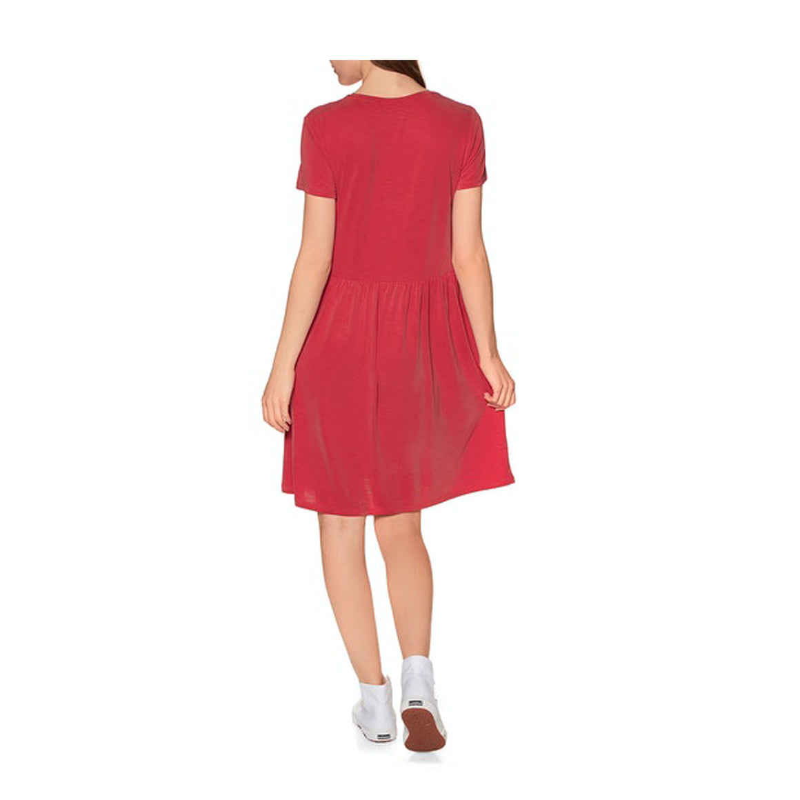 Smocked Tshirt Dress for Women in Apple Red