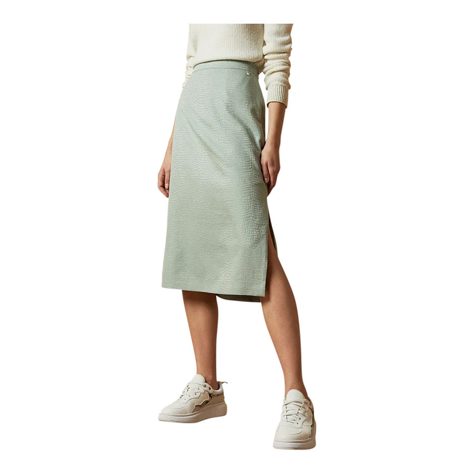 Narlica Panelled Skirt with Side Split for Women in Mint