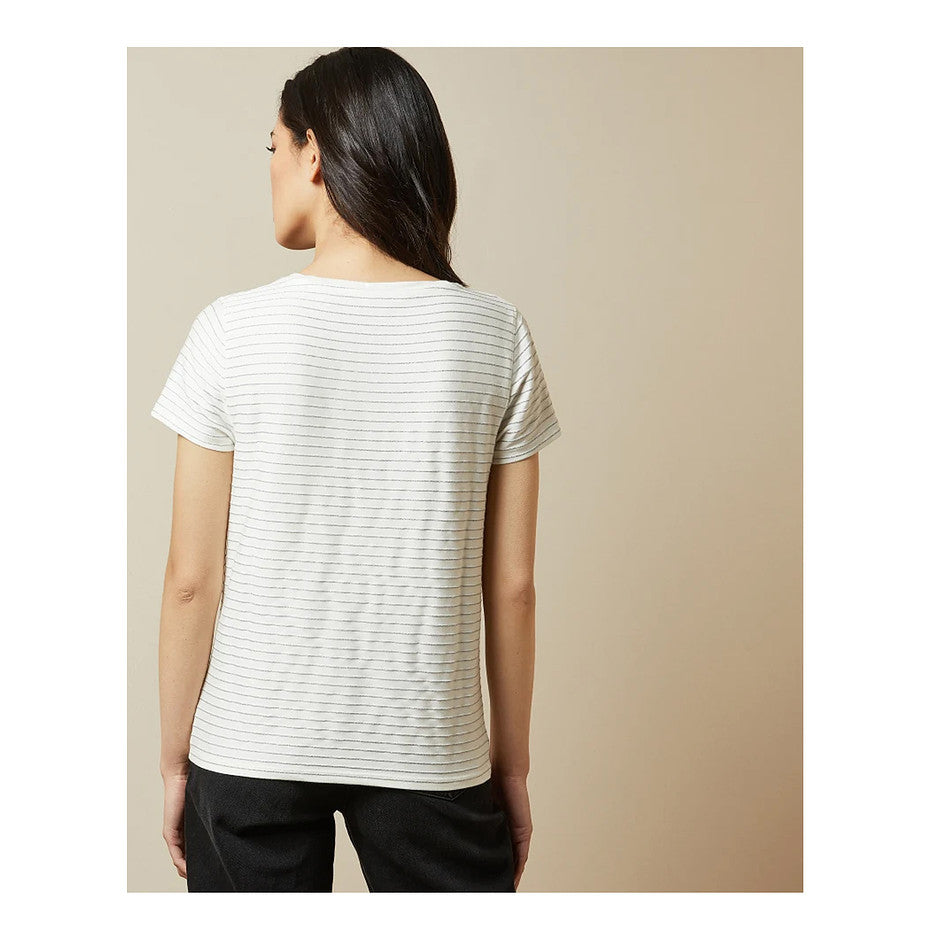 Giianai V Neck Relaxed T-Shirt for Women in Ivory