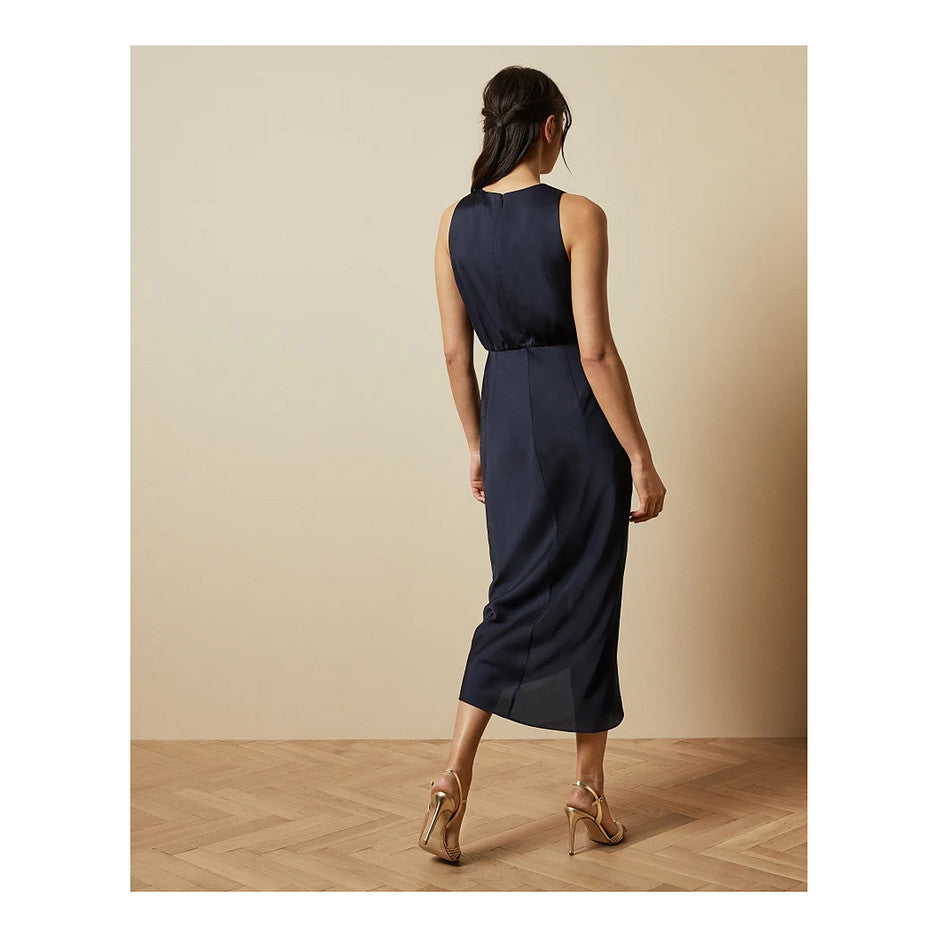 Pohshan Keyhole Detail Midi Dress for Women in Navy
