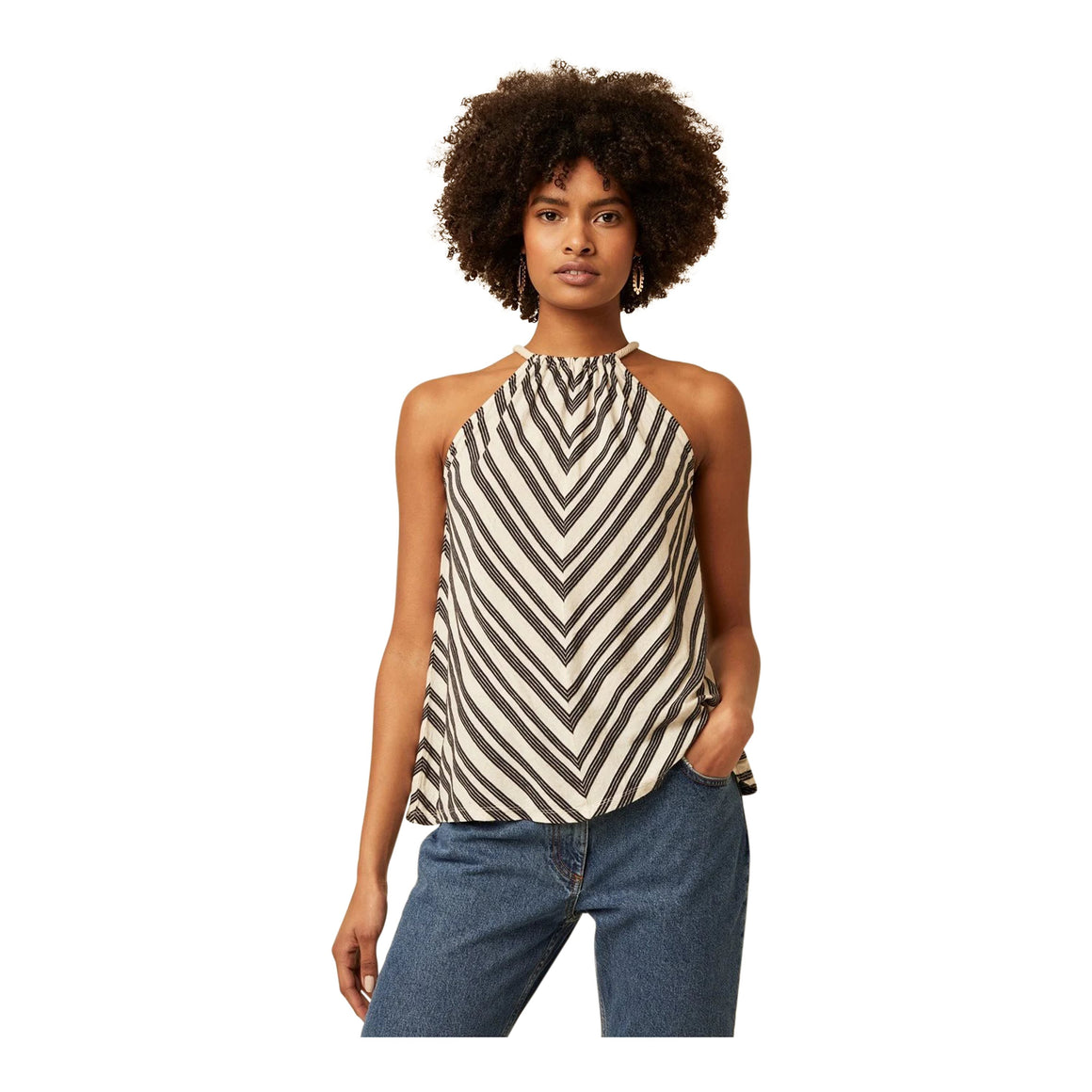 Lumi Stripe Vest Top for Women in Natural & Black