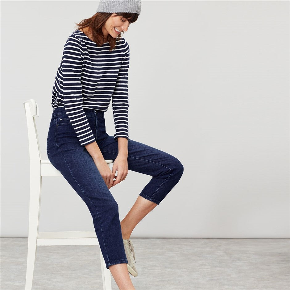 Harbour Long Sleeve Jersey Top for Women in Blue Cream Stripe