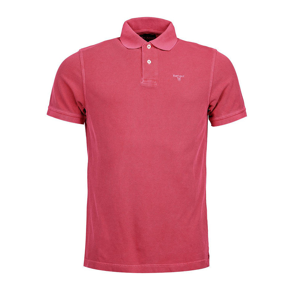 Washed Sports Polo for Men in Fuchsia