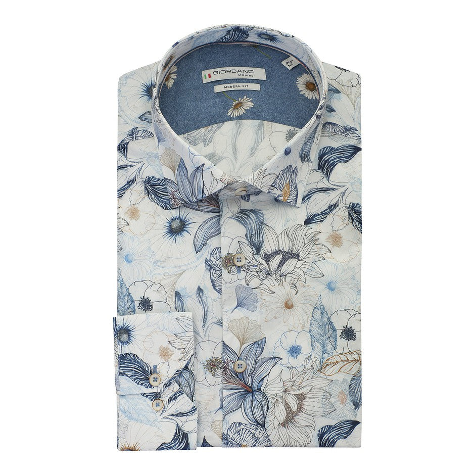 Floral Shirt for Men in White
