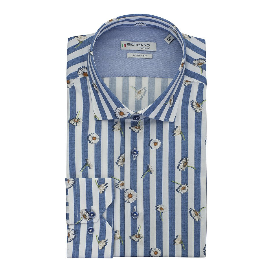 Daisy Stripe Shirt for Men in Blue
