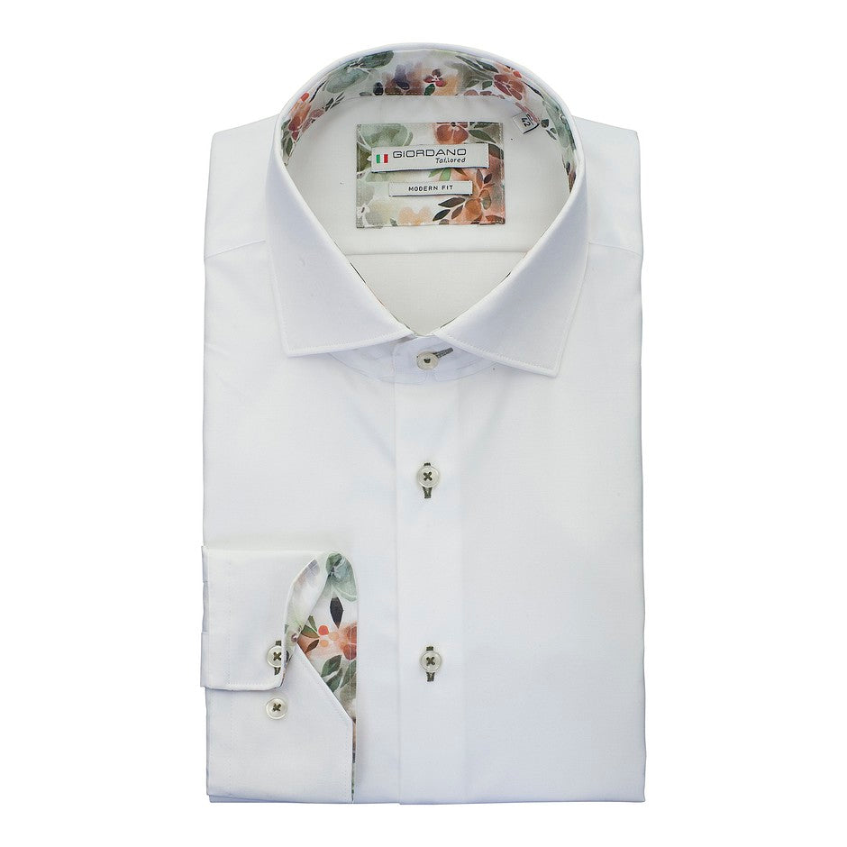 Twill Shirt With Trim for Men in White