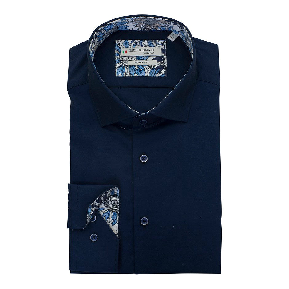 Plain Shirt With Trim for Men in Navy