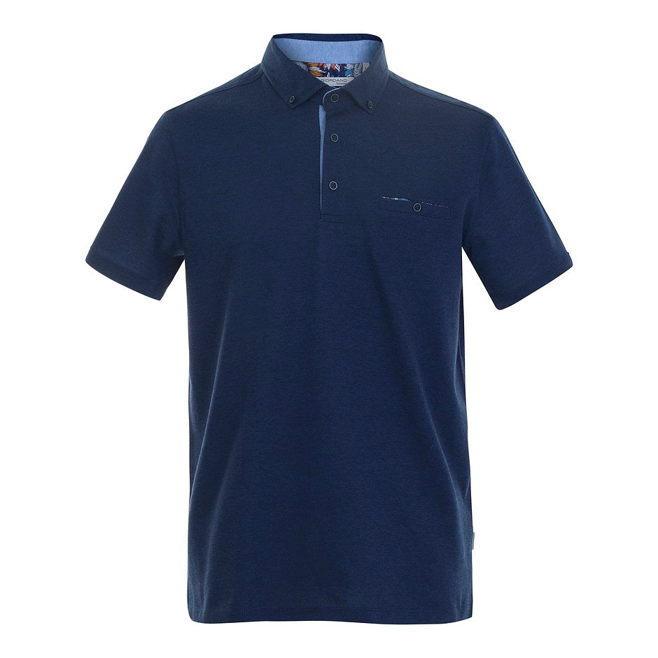 Mercerized Polo Shirt for Men in Navy