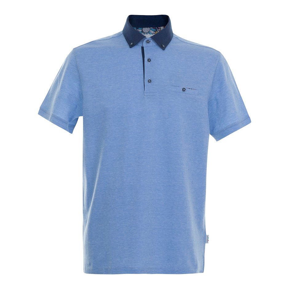 Mercerized Polo Shirt for Men in Sky