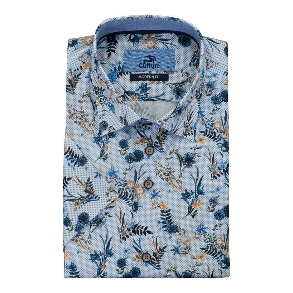 Floral SS Shirt for Men in White