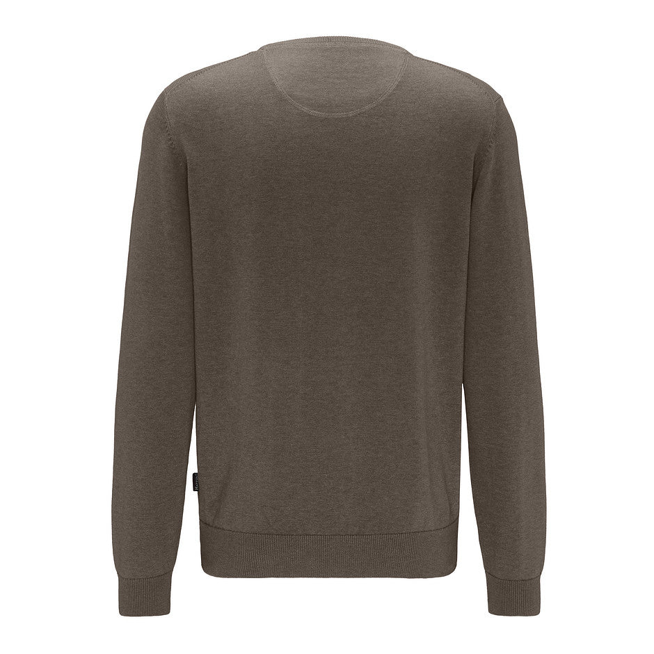 O-Neck Superfine Cotton Knit for Men in Brown