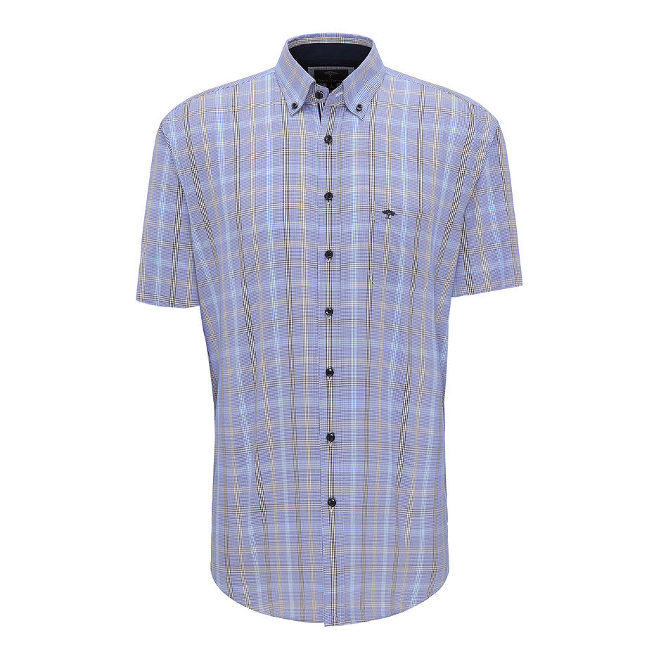 Blue Check Fond Short Sleeve Shirt for Men in Brown